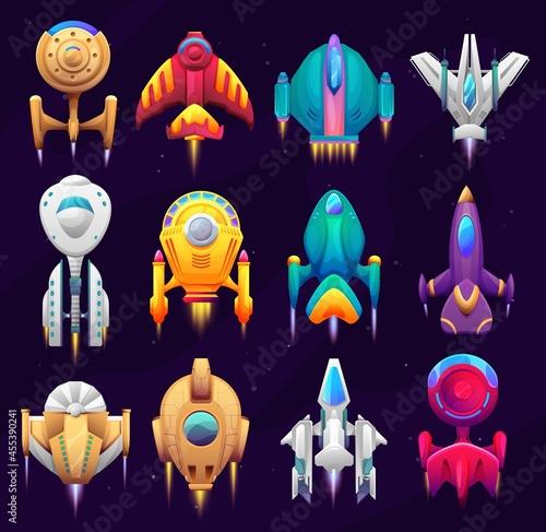 Fotografia Cartoon galaxy space starships, game asset