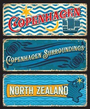 Copenhagen Surroundings, North Zealand Denmark Plates. Danish Capital City And Touristic Area Vintage Banners Or Tin Sign, Grunge Travel Stickers With Coat Of Arms And Flag Symbols, Territory Map