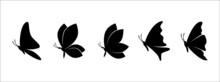 Butterflies Silhouette Set. Butterflies Silhouettes Vector Set Illustration.