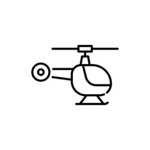 Helicopter Vector Outline Icon Style Illustration. Eps 10 File