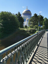View From The Bridge To The St. Nicholas Cathedral, Built In The Neo-Byzantine Style In 1903, Among The Trees, On A Summer Day In Kronstadt.
