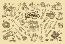 Big Set Of Hand-drawn Garden Elements Gardening Tools.