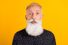 Photo Of Charming Flirty Old Happy Man Lisp Pouted Plump Send Air Kiss Enjoy Isolated On Yellow Color Background