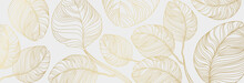 Luxury Floral Pattern With Gold Leaves On A White Background. Vector Illustration With Plant Elements In Line Art Style For Covers, Advertisements, Wedding Invitations, Cards, Wallpapers