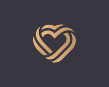 Abstract Heart Logo From Golden Gradient Stripes Design Vector Template. Luxury Hotel, Spa, Massage, Heritage Vector Logotype Concept.