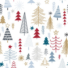 Winter Seamless Pattern With Christmas Trees, Spruce Woods On White Background. Surface Design For Textile, Fabric, Wallpaper, Wrapping, Giftwrap, Paper, Scrapbook And Packaging