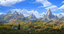 Fantasy Panorama Of The Mountains Landscape