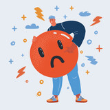 Vector illustration of angry man hold dislike icon.