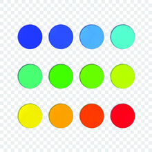 Vector Set Of Circle Stickers, Rainbow Colors, Soft Color Shifting, Blank Round Shaped Frames Isolated On Light Transparent Background.