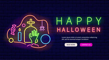 Zombie Hand In The Graveyard Neon Web Site. Happy Halloween Flyer. Isolated Vector Stock Illustration