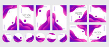 Instagram Stories, Posts, Highlights Templates For Social Media. Abstract Purple Gradient Fluid Liquid Vector Backgrounds With Copy Space For Text