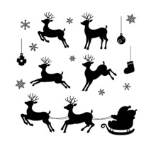 Christmas Ornaments Silhouette Vector Illustration Set (reindeer, Santa Claus Etc. )