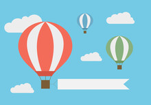 Flat Design Illustration Of Flying Hot Air Balloon In The Blue Sky With White Clouds And Banner For Adding Your Text, Vector