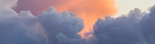 Beautiful Colored Clouds On Sky At Sunset. Close-up View. Background Picturesque Texture