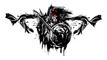 A Dirty Tattoo Sketch Of The Silhouette Of The King, He Has A Crown On His Head, And Blood Flows Down His Face.in His Hands Is A Sword And A Shield With A Lion And He Has A Cloak And Arrows Fly.2d Art