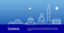 Taiwan Cityscape Blue Silhouette Banner. Country Visit Promotion. Travel Postcard. Vector Stock Illustration
