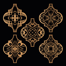 Christmas Arabesque Tile Ornament Set. Vector Illustration