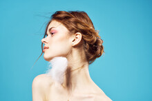 Pretty Woman Bare Shoulders Fluffy Earrings Pure Leather Glamor Blue Background