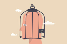 Fixed Mindset, Negative Emotion Refuse To Learn Anything New, Fearful Or Mental Lock, Suppression Or Aversion Disorder Concept, Bird Cage Lock Over Depressed Fearful Human Brain.