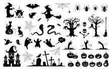 Halloween Characters Silhouettes And Icons Set. Scary Ghosts, Zombies, Witches And Scary Animals. Magical Collection For Party, Celebration, Template And Decoration. Isolated. Vector Illustration