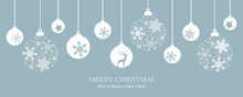 Merry Christmas Card With Hanging Ball Decoratoin