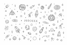 Space Doodle Set. Planet, Rockets, Stars, Comets, Ufo, Asteroid, Moon, Constellations Isolated On White Background. Outline Astronomical Objects Collection. Vector Children Education Cute Illustration