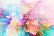 3D Digital Illustration. Color Blot Splash. Abstract Horizontal Background.