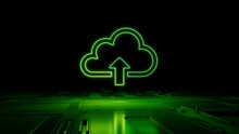Green Neon Light Cloud Upload Icon. Vibrant Colored Data Storage Technology Symbol, On A Black Background With High Tech Floor. 3D Render