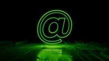 Green Neon Light @ Icon. Vibrant Colored Email Technology Symbol, On A Black Background With High Tech Floor. 3D Render