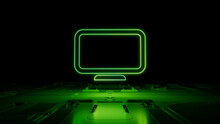 Green Neon Light Monitor Icon. Vibrant Colored Display Technology Symbol, On A Black Background With High Tech Floor. 3D Render