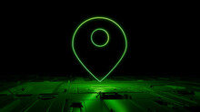 Green Location Technology Concept With Map Pin Symbol As A Neon Light. Vibrant Colored Icon, On A Black Background With High Tech Floor. 3D Render