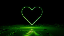 Green Neon Light Heart Icon. Vibrant Colored Love Technology Symbol, On A Black Background With High Tech Floor. 3D Render