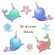 Set Of Fabulous Whales Unicorns. Vector.