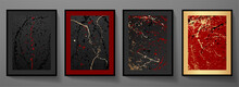 Contemporary Painting Art Poster Design Set. Digital Paint Art Pattern With Red, Gold Splash, Drops On Black Background. Artistic Vector Collection In Japanese Style For Wall Decor, Abstract Picture