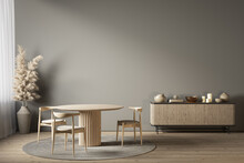 Gray Interior With Dining Table, Dresser And Decor. 3d Render Illustration Mockup.