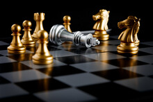 Chess Board Game Concept For Leadership And Teamwork To Strategy, Business Success Concept, Business Competition Planing Teamwork Strategic Concept