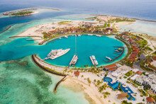 Marina At The Crossroads Maldives Islands. South Male Atoll. Aerial Drone Picture. June 2021