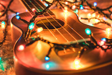 Acoustic Guitar In Christmas Light