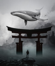 Illustration Of Blue Whale Swimming In The Sky And Man Standing On Itsukushima Shrine