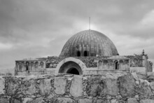 Monochrome Photo Of Umayyad Palace, Amman, Jordan