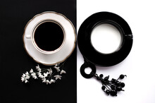 Two Cups Of Coffee Representing Yin-Yang