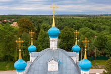 Picturesque Blue Domes Of An Ancient Church With Golden Crosses