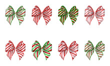 Set Of Isolated Christmas Bows With Candy Cane Texture. Striped Bow For Christmas Decorations