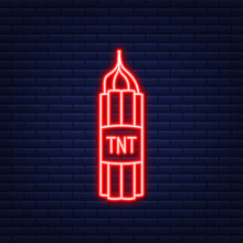 Red Dynamite Pack With Electric Time Bomb, TNT. Neon Icon. Vector Illustration.