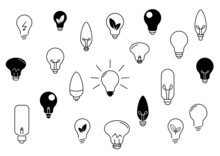 Żarówka - Kolekcja 21 Ikon Do Projektów. Kontury żarówek. Wieloznaczny Symbol: Idea, Rozwiązanie, Pomysł, Radzenie Sobie Z Problemem, Geniusz, Ekologiczna Energia. Koncept Lampy, światła.