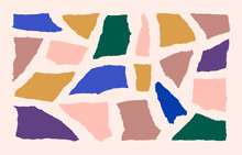 Collage Paper Shape Set In Contemporary Style. Vector Abstract Torn Colourful Paper Isolated On A Pink Background