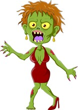 Cartoon Zombie Woman Isolated On White Background