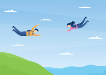 Skydive Is A Type Sport Of Outdoor Activity Recreation Using Parachute And High Jump In Sky Air. Cute Cartoon Background Vector Illustration