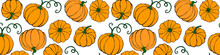 Vector Seamless Pattern With Pumpkins In Flat Style. Halloween Or Thanksgiving Color Background And Texture