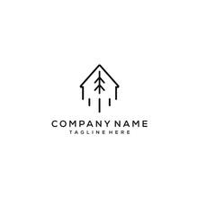 Farm Tree House Logo Concept With Simple Line Design Vector Arrow Style